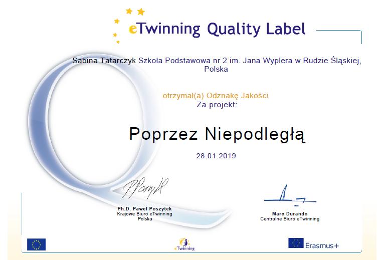 Krajowa Odznaka Jakości w projekcie eTwinning